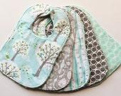 Baby Bibs, Blue-Gray Baby Bibs, Backyard Baby Collection