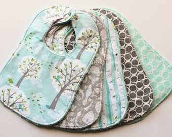 Baby Bibs, Blue-Gray Baby Bibs, Backyard Baby Collection