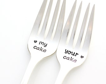 Stamped Wedding Forks. My Cake and Your Cake. Hand stamped wedding decor, unique engagement gift. Place settings by Milk & Honey