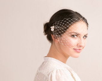 Bridal beaded bandeau veil, Swarovski pearls wedding bandeau