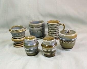 Irish Porcelain Condiment Set- Vintage/ Antique Pottery- Brown, Blue, Green Glaze- Clover- 7 piece set- Seven- Wade Porcelain