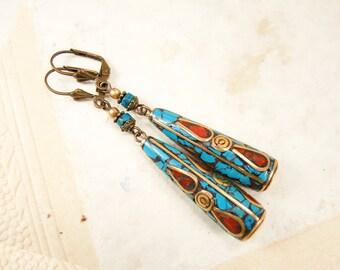 Brass ethnic earrings Nepal earrings Turquoise Coral brass earrings Tibetian earrings