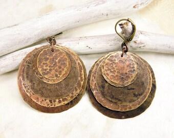 Brass earrings Layered brass earrings Hammered earrings Boho earrings