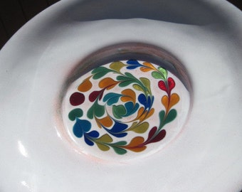 Vintage Artisan Copper on Enamel Bowl Signed Smalley White and Multi Colored