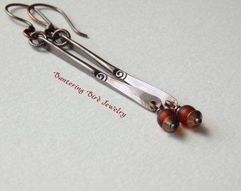 Copper Stick Earrings, Long Minimalist Earrings with Stamped Spiral, Dark Topaz Glass Seed Bead Earrings, Modern Earrings, Copper Jewelry