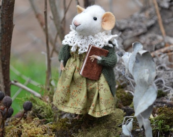 Reader Little Mouse- The Forest Collection - Needle Felted Doll Rustles from the Meadow