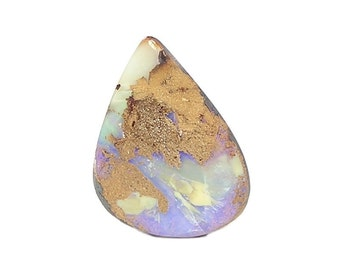 Australian Boulder Opal,  Green, Lilac and Blue Flashes, Matrix Boulder Opal Cabochon Polished Natural gemstone Loose Jewel, Precious Gem