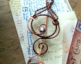 Celtic Shawl pin, Rustic Copper sweater pin or scarf pin in swirly design with CZ, copper brooch