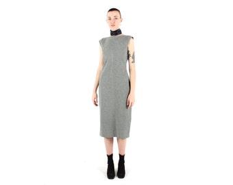 90s Minimal Simple Grey Cap Sleeve High Neckline Midi Dress