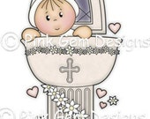 Digi stamp Cute  'Christening Day'. Makes Cute  Christening Invitations/Cards etc