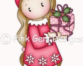 Digi Stamp Chloe with Gift. Makes Cute Christmas Cards