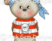 Digi Stamp Pirate  Barclay . Makes Cute Birthday Cards. Teddy Bear