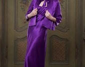 Heather Purple 100% Silk Bed Jacket, 1930's inspired, vintage style, perfect for any pinup girl, luxury Mum, Luxe Mothers Day Gift