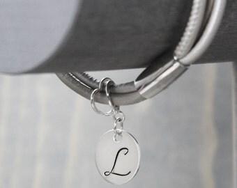 Pearl Thin Leather Bracelet, Charm Bracelet, Leather Wrap Bracelet, Handstamped Jewelry, Handstamped Bracelet, Hand Stamped