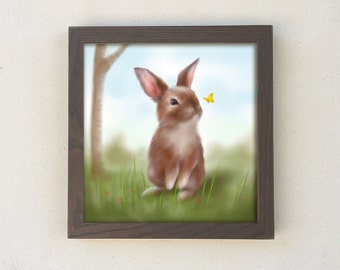 Bunny Rabbit Nursery Art, Shabby Chic Nursery, Rabbit Kids Wall Art