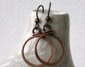 Minimalist Rustic Copper Drop Hoop Earrings in Three Diameters in Antique Copper Patina