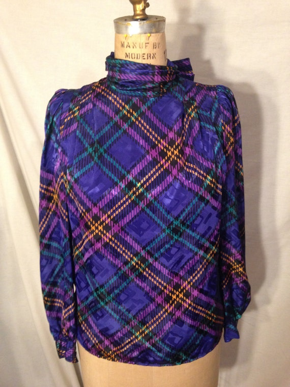 Vintage Long Sleeve Abstract Plaid Blouse By Eva Laurel Size 6 S40