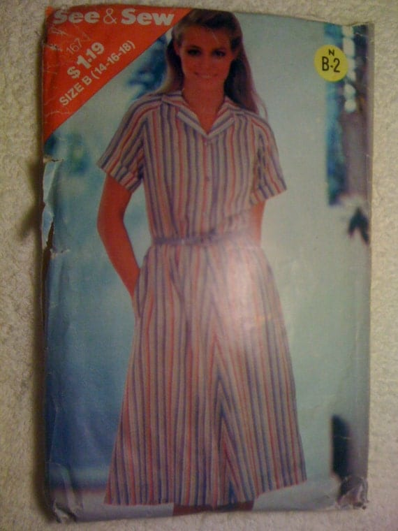 Butterick 167 See and Sew Sewing Pattern 70s Misses Dress Size 14-18