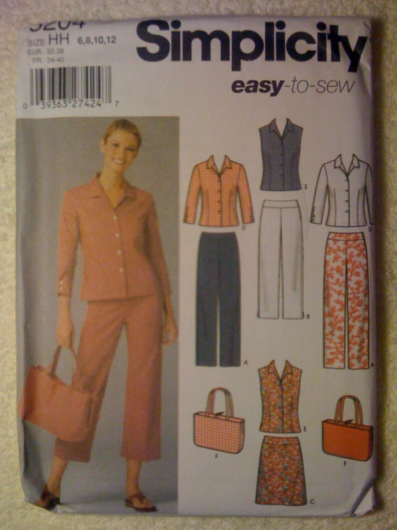 Misses and Miss Petite Pants in Two Lengths, Skirt, Shirt and Bag Simplicity Sewing Pattern 5204 Size 6-12 Uncut