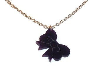 Purple Bow Necklace Quirky Laser Cut Pendant Kitsch Cute Kawaii