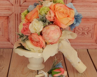 Peony Wedding Bouquet- Bridal Bouquet- Rose, Hydrangea and Peony Wedding Bouquet- Boutonniere- Ready To Ship