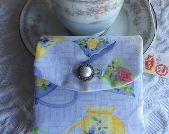Tea Bag Wallet with Faux Pearl Button - Blue -Yellow