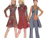 Retro Sewing Pattern Simplicity 70s Mini Dress Long Boho Hippie Style Vest Pants Uncut Size 10 Bust 32