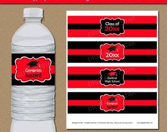 Printable Graduation Water Bottle Labels in Red & Black - EDITABLE Graduation Water Labels - DIY Water Bottle Labels - Instant Download