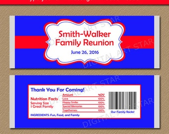 Family Reunion Favors - Family Reunion Candy Wrappers - EDITABLE BBQ Party Favors - Family Reunion Ideas - Printable Red & Blue Candy Labels