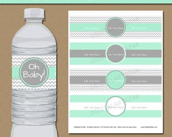 Mint Grey Water Bottle Labels, Mint Green Baby Shower Decorations, EDITABLE Water Labels, Printable Baby Shower Ideas Party Decorations BB1