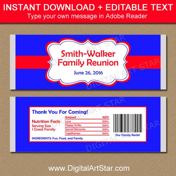 Family Reunion Favors Family Reunion Candy Wrappers