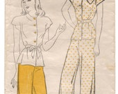 "1940's New York Two-Piece Pajama with Tie Belt Pattern - Bust 32"" - No. 925"