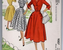 "1950's McCall's One-Piece Button Up Shirtwaist Dress with Notched Collar Pattern - UNCUT - Bust 34"" - No. 9007"