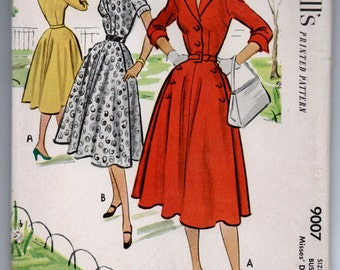 """1950's McCall's One-Piece Button Up Shirtwaist Dress with Notched Collar Pattern - UNCUT - Bust 34"""" - No. 9007"""
