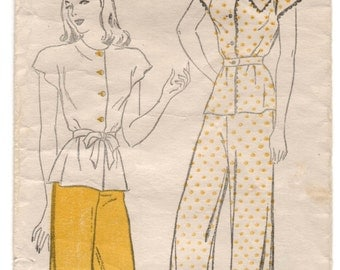 """1940's New York Two-Piece Pajama with Tie Belt Pattern - Bust 32"""" - No. 925"""