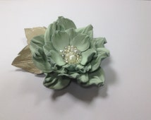 Mint and beige leather flower brooch, Leather brooch, Handmade flower, Mother of the bride flower, Mothers Day gift, Christmas gift