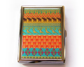Cigarette Holder, Cigarette Case, Hindu Design, Case for Smokes, Metal cigarette case, Cigarette box, Asian Design, Tribal (5555)