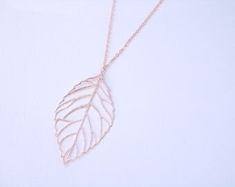 Leaf necklace. Rose Gold plated. Autumn Fall jewelry. Foliage. Nature necklace. Woodland