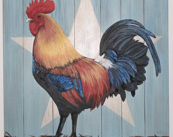 Large Original Painting 36 in. square Big Canvas Giant bright colorful Star Rooster 36 x 36""