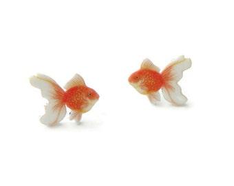 Goldfish earrings, fish studs,