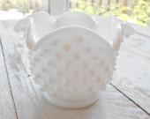 Milk Glass Hobnail Bowl / Small / Scalloped Edge / White Glass / Glass Garden Flower Parts, Components