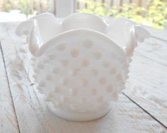 Milk Glass Hobnail Bowl / Small / Scalloped Edge / White Glass / Glass Garden Flower Parts, Components