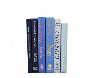Blue Ombre Books, Navy  Decorative Books, Book Decor, Old Book Set, WEdding Centerpiece, Book Collection, Interior Design, Home Decoration