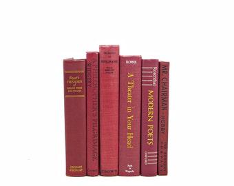 Carmine Red Books, Decorative Books, Burgundy Wine Old Book Set, Wedding Decoration, Vintage Book Stack, Old Book Decor, Book Collection,