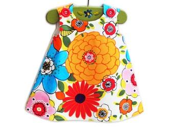 Floral Aline - Baby Girls Dress - Peasant Top Pattern - Aline Dress - Girls Top Pattern - Alexander Henry Print- Handmade - 3M to 4T