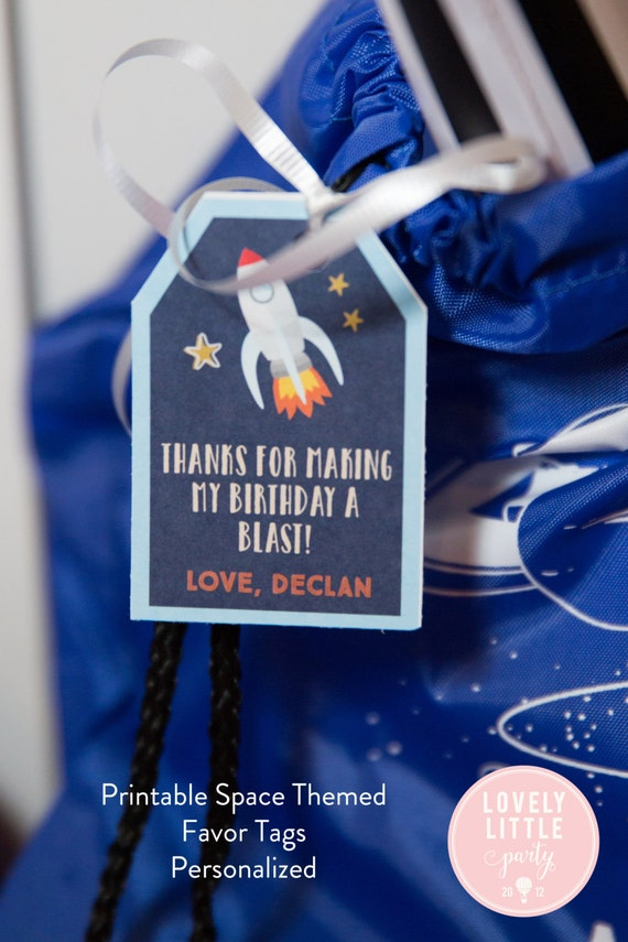 Space Theme, Rocket Ship Theme Party Themed Favor Tags DIY Printable - Lovely Little Party