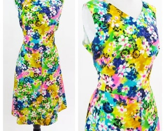 Vintage 1960's Rainbow Dress - Sleeveless Cotton Floral Mid Length Summer Dress - Rainbow Flower Power Dress - Size Large