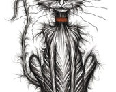 Ugly the kitten Print A4 size picture Nasty pet cat kitty puss pussycat moggie with long thin scruffy tail and empty food dish Animal sketch