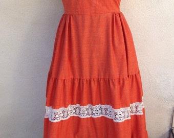 Vintage boho long dress burnt orange cream lace by Couriers CA sz xs 4