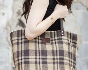 Large Tote Bag, Leather Tote Bag, Womens Tote Bag, Tote Bag, Handmade, Brown Plaid